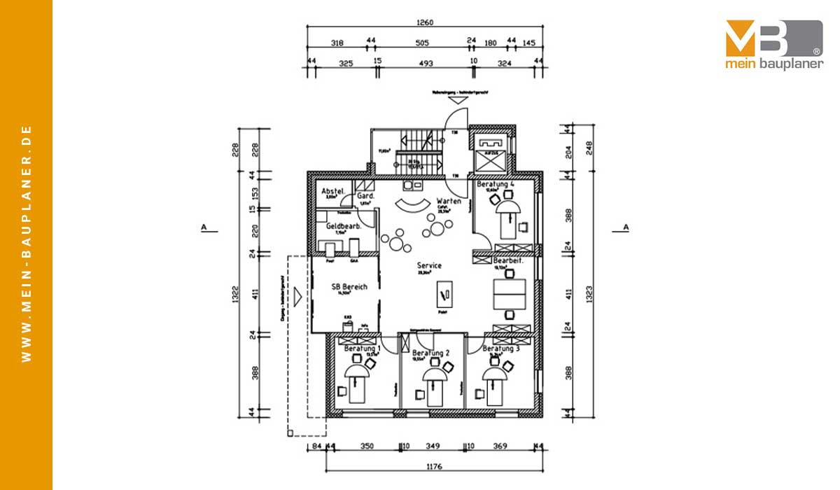 Ausführungsplanung für den Neubau einer Volksbankfiliale in Altenstadt 2