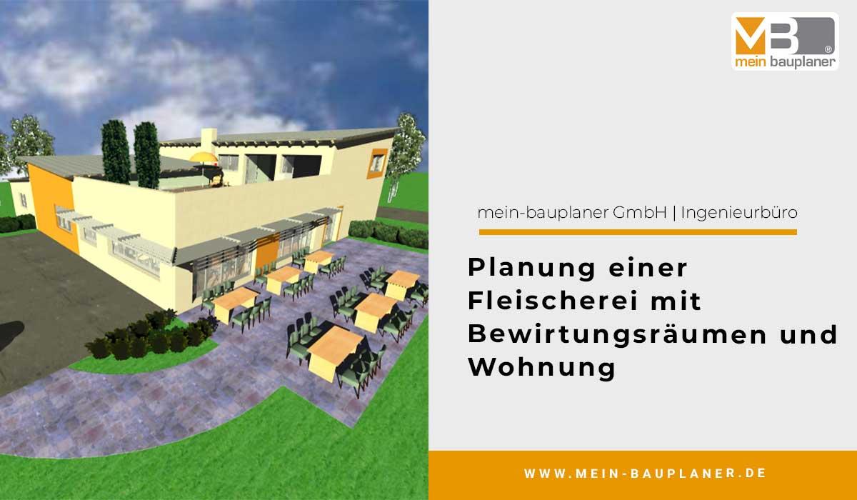 Planung einer Fleischerei mit Bewirtungsräumen und Wohnung im Obergeschoss 1