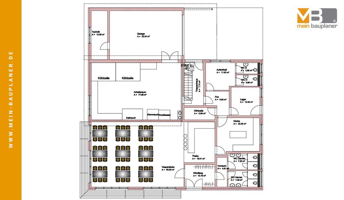 Planung einer Fleischerei mit Bewirtungsräumen und Wohnung im Obergeschoss 2