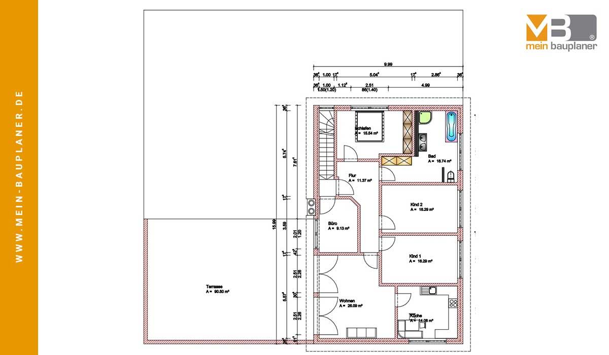 Planung einer Fleischerei mit Bewirtungsräumen und Wohnung im Obergeschoss 3