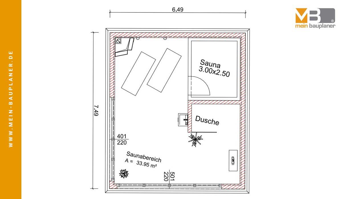 Vorplanung zweigeschossiges Saunahaus 3